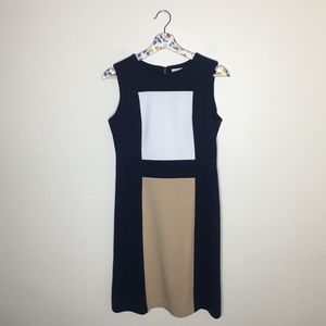 Calvin Klein Navy & beige color block career dress